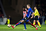 Jan Gregus (R) of FC Copenhague fights for the ball with Thomas Teye Partey of Atletico de Madrid during the UEFA Europa League 2017-18 Round of 32 (2nd leg) match between Atletico de Madrid and FC Copenhague at Wanda Metropolitano  on February 22 2018 in Madrid, Spain. Photo by Diego Souto / Power Sport Images