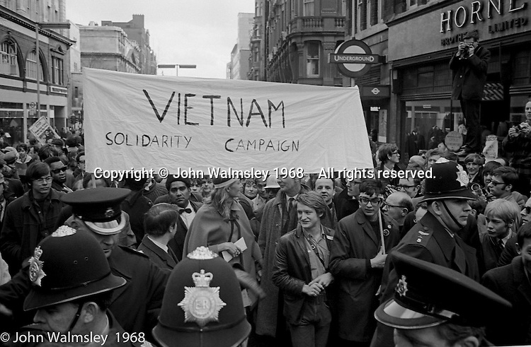 Banner for the Vietnam Solidarity Campaign, anti-Vietnam war demonstration march from Trafalgar Sq to Grosvenor Sq Sunday 17th March 1968.