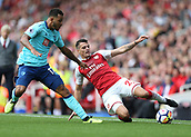 9th September 2017, Emirates Stadium, London, England; EPL Premier League Football, Arsenal versus Bournemouth; Granit Xhaka of Arsenal keeps the ball in with Jordon Ibe of Bournemouth marking