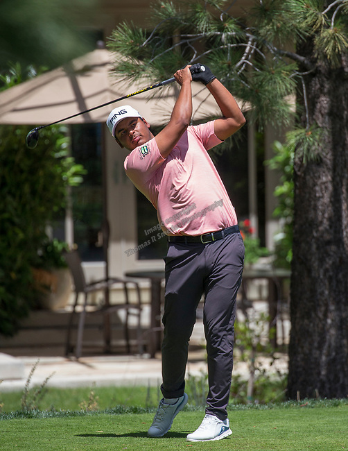Sebastian Munoz hits a drive on the 15th tee during the Barracuda Championship PGA golf tournament at Montrêux Golf and Country Club in Reno, Nevada on Sunday, July 28, 2019.