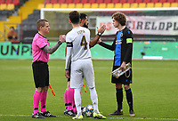 20191211 – OOSTENDE , BELGIUM : Ismael Armenteros of Real Madrid pictured with Maxim De Cuyper of Club Brugge during a soccer game between Club Brugge KV and Real Madrid on the sixth and last matchday in group A of the UEFA Youth League - Champions League season 2019-2020 , thuesday 11 th December 2019 at the Versluys Arena in Oostende , Belgium . PHOTO SPORTPIX.BE | DAVID CATRY