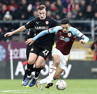 Burnley's Dwight McNeil under pressure from Barnsley's Mike Bahre<br /> <br /> Photographer Rich Linley/CameraSport<br /> <br /> Emirates FA Cup Third Round - Burnley v Barnsley - Saturday 5th January 2019 - Turf Moor - Burnley<br />  <br /> World Copyright &copy; 2019 CameraSport. All rights reserved. 43 Linden Ave. Countesthorpe. Leicester. England. LE8 5PG - Tel: +44 (0) 116 277 4147 - admin@camerasport.com - www.camerasport.com