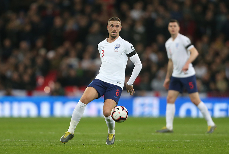 England's Jordan Henderson<br /> <br /> Photographer Rob Newell/CameraSport<br /> <br /> UEFA Euro 2020 Qualifying round - Group A - England v Czech Republic - Friday 22nd March 2019 - Wembley Stadium - London<br /> <br /> World Copyright © 2019 CameraSport. All rights reserved. 43 Linden Ave. Countesthorpe. Leicester. England. LE8 5PG - Tel: +44 (0) 116 277 4147 - admin@camerasport.com - www.camerasport.com