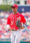 21 June 2015: Washington Nationals outfielder Michael Taylor trots back to the dugout during a game against the Pittsburgh Pirates in the 9th inning at Nationals Park in Washington, DC. The Nationals defeated the Pirates 9-2 to sweep their 3-game weekend series, and improve their record to 37-33. Mandatory Credit: Ed Wolfstein Photo *** RAW (NEF) Image File Available ***