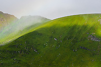 Norway, Lofoten. Close to Fredvang on the northern part of Moskenesøya. A green curved hill in the mist.