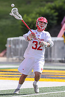 College Park, MD - May 14, 2017: Maryland Terrapins Louis Dubick (32) passes the ball during the NCAA first round game between Bryant and Maryland at  Capital One Field at Maryland Stadium in College Park, MD.  (Photo by Elliott Brown/Media Images International)