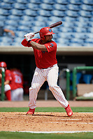 Clearwater Threshers catcher Deivi Grullon (13) at bat during the first game of a doubleheader against the Lakeland Flying Tigers on June 14, 2017 at Spectrum Field in Clearwater, Florida.  Lakeland defeated Clearwater 5-1.  (Mike Janes/Four Seam Images)