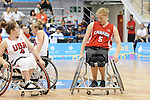November 18 2011 - Guadalajara, Mexico:   Janet Margaret McLachlan of Team Canada taking on Team USA in the Gold Medal Game in the CODE Alcalde Sports Complex at the 2011 Parapan American Games in Guadalajara, Mexico.  Photos: Matthew Murnaghan/Canadian Paralympic Committee