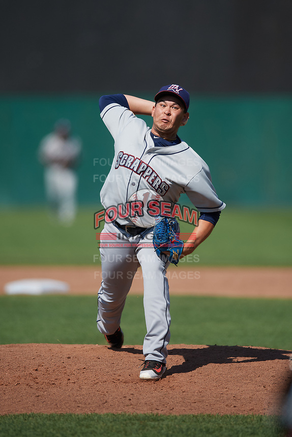 Mahoning Valley Scrappers relief pitcher Ping-Hsueh Chen (17) delivers a pitch during the second game of a doubleheader against the Auburn Doubledays on July 2, 2017 at Falcon Park in Auburn, New York.  Mahoning Valley defeated Auburn 3-2.  (Mike Janes/Four Seam Images)