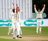 Will Gidman of Kent traps Muhammad Amir LBW during day 1 of the four day tour match between Kent CCC and Pakistan at the St Lawrence Ground, Canterbury, on Sat April 28, 2018