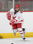 MADISON, WI - SEPTEMBER 29: Emily Kranz #18 of the Wisconsin Badgers women's hockey team skates during warmups prior to the game against the Quinnipiac Bobcats at the Kohl Center on September 29, 2006 in Madison, Wisconsin. The Badgers beat the Bobcats 3-0. (Photo by David Stluka)