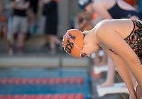 Noel Hemphill '15 prepares for the women's 200 yard freestyle. The Occidental College swim team competes against Lewis & Clark College and Westminster College in Taylor Pool on Jan. 6, 2015. (Photo by Marc Campos, Occidental College Photographer)
