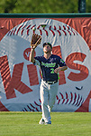 29 June 2014:  Vermont Lake Monsters outfielder Brett Vertigan pulls in the 3rd out of the 4th inning against the Lowell Spinners at Centennial Field in Burlington, Vermont. The Lake Monsters fell to the Spinners 7-5 in NY Penn League action. Mandatory Credit: Ed Wolfstein Photo *** RAW Image File Available ****