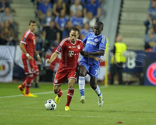 30.08.2013. Prague, Czech Republic.   UEFA Supercup 2013 FC Bayern Munich versus Chelsea.  Franck Ribery Munich against Ramires Chelsea