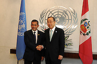 NEW YORK, USA - SEPT 23. U.N  secretary-General Ban Ki Moon shake hands with Ollanta Humala president of Peru during  69th United Nations General Assembly on September 23.2014 (photo by VIEWpress)