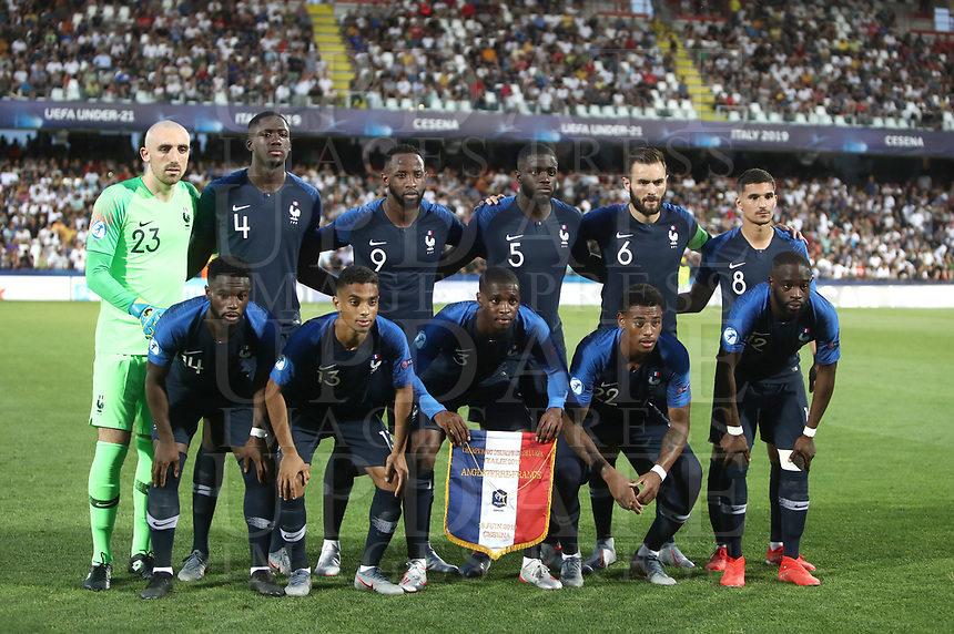 Football: Uefa under 21 Championship 2019, England - France, Dino Manuzzi stadium Cesena Italy on June18, 2019.<br /> France's players pose for the pre match photograph prior to the start of the Uefa under 21 Championship 2019 football match between England and France at Dino Manuzzi stadium in Cesena, Italy on June18, 2019.<br /> UPDATE IMAGES PRESS/Isabella Bonotto