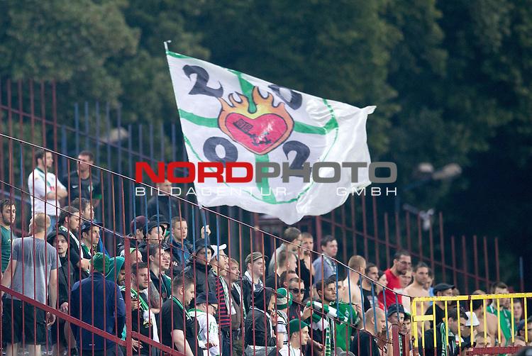 08.07.2014, Florian-Krygier-Stadion , Stettin, FSP Pogon Stettin (PL) vs Werder Bremen (GER), im Bi<br /> <br /> Werder Fans in Stettin<br /> <br /> <br /> <br /> <br /> Foto &copy; nordphoto