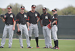 (R-L) Ichiro Suzuki, Marcell Ozuna, Giancarlo Stanton, Christian Yelich (Marlins),<br /> FEBRUARY 24, 2014 - MLB :<br /> Miami Marlins spring training camp in Jupiter, Florida, United States. (Photo by AFLO)