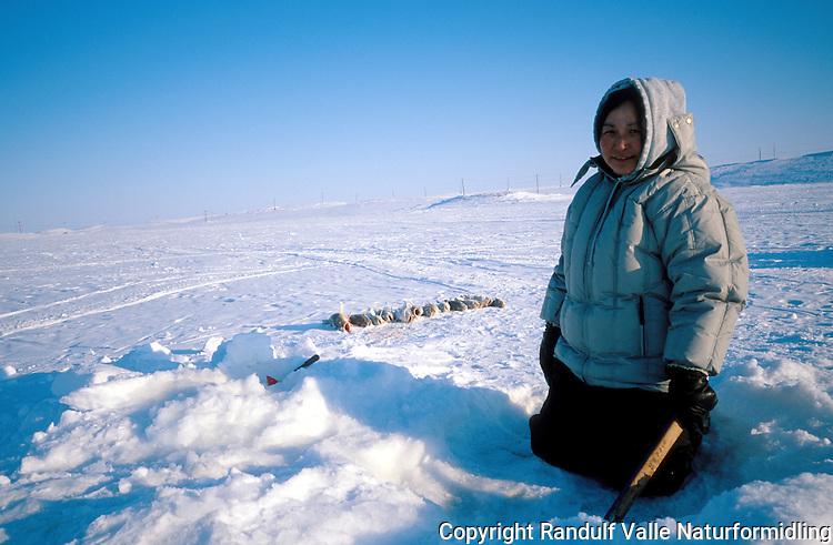Inuitt i arktisk Canada fisker på isen. ---- Canadian inuit ice fishing.