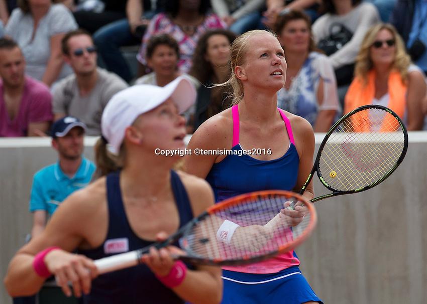 Paris, France, 26 June, 2016, Tennis, Roland Garros, Doubles:  Kiki Bertens (NED) (R) and her partner Johanna Larsson <br /> Photo: Henk Koster/tennisimages.com