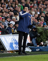 SWANSEA, WALES - FEBRUARY 07: Sunderland manager Gus Poyet attempts to gra the attention of his players by whistling from the touch line during the Premier League match between Swansea City and Sunderland AFC at Liberty Stadium on February 7, 2015 in Swansea, Wales.