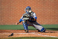 Louisiana Tech Bulldogs catcher Brent Diaz (18) waits for a throw at home plate during the game against the Charlotte 49ers at Hayes Stadium on March 28, 2015 in Charlotte, North Carolina.  The 49ers defeated the Bulldogs 9-5 in game two of a double header.  (Brian Westerholt/Four Seam Images)