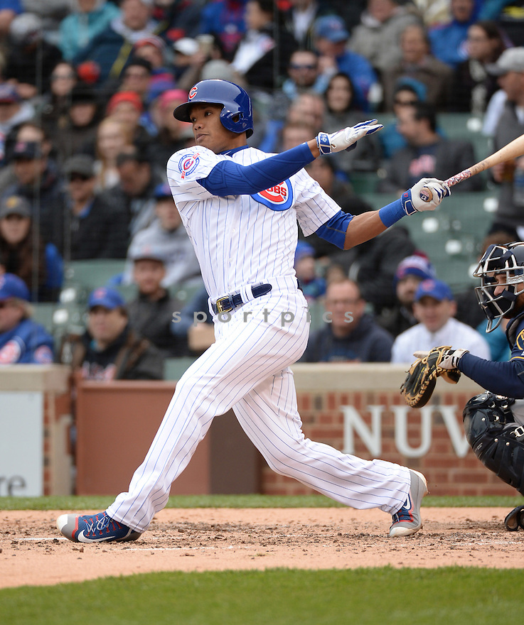 Chicago Cubs Addison Russell (27) during a game against the Milwaukee Brewers on April 28, 2016 at Wrigley Field in Chicago, IL. The Cubs beat the Brewers 7-2.