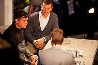 Februari 09, 2015, Netherlands, Rotterdam, Ahoy, ABN AMRO World Tennis Tournament, Talkshow RTV Rijnmond with Milos Raonic & Richard Krajicek<br /> Photo: Tennisimages/Henk Koster