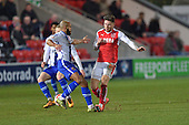 15/03/2016 Sky Bet League 1 Fleetwood Town v Walsall<br /> Wes Burns collides with Adam Chambers