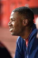 Memphis Redbirds first baseman Xavier Scruggs (16) in the dugout during a game against the Oklahoma City RedHawks on May 23, 2014 at AutoZone Park in Memphis, Tennessee.  Oklahoma City defeated Memphis 12-10.  (Mike Janes/Four Seam Images)