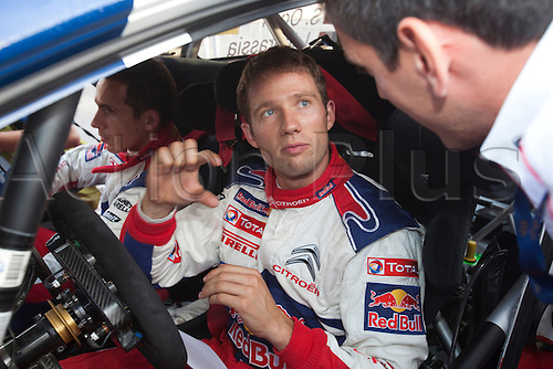 JYVASKYLA, FINLAND - JULY 30: Sebastien Ogier of France pictured on the service area in the WRC Rally Finland on July 30, 2010 in Jyvaskyla, Finland.