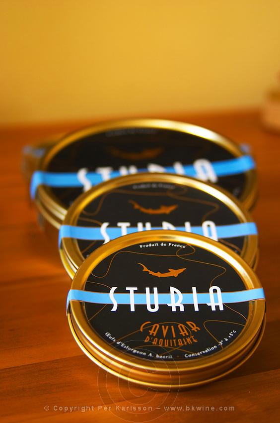 "Three tins of Caviar d'Aquitaine Sturia  ""Caviar et Prestige"" Saint Sulpice et Cameyrac  Entre-deux-Mers  Bordeaux Gironde Aquitaine France - at Caviar et Prestige"