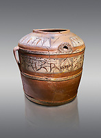 Phrygian terra cotta large jug with handles, decorated with animals, from Gordion. Phrygian Collection, 6th century BC - Museum of Anatolian Civilisations Ankara. Turkey.