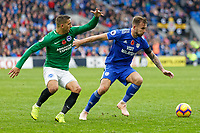(L-R) Anthony Knockaert of Brighton challenges Joe Ralls of Cardiff City during the Premier League match between Cardiff City and Brighton & Hove Albion at the Cardiff City Stadium, Cardiff, Wales, UK. Saturday 10 November 2018