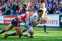 Anthony Watson of Bath Rugby dives for the try-line. Aviva Premiership match, between Gloucester Rugby and Bath Rugby on October 1, 2016 at Kingsholm Stadium in Gloucester, England. Photo by: Patrick Khachfe / Onside Images