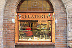 Ice cream shop in the walled town of San Gimignano start point of the 2015 Strade Bianche Eroica Pro cycle race running 200km over the white gravel roads from San Gimignano to Siena, Tuscany, Italy. 6th March 2015<br /> Photo: Eoin Clarke www.newsfile.ie