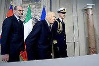 Roma, 4 Aprile 2018<br /> Giorgio Napolitano<br /> Primo giorno di Consultazioni per la formazione del Governo