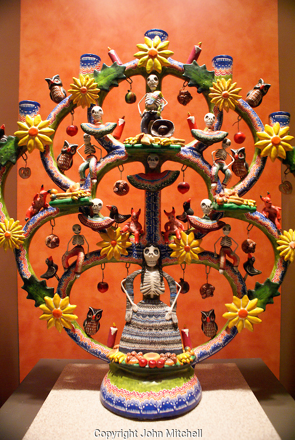 Mexican ceramic candle holder or candelabra, National Museum of Anthropology in Chapultepec Park, Mexico City