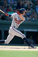 Shortstop Braden Shewmake (39) of the Rome Braves, an Atlanta Braves' First-Round pick in the 2019 MLB Draft, bats in a game against the Greenville Drive on Sunday, June 30, 2019, at Fluor Field at the West End in Greenville, South Carolina. Rome won, 6-3. (Tom Priddy/Four Seam Images)
