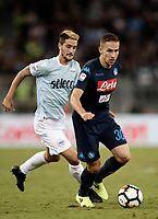 Calcio, Serie A: Roma, stadio Olimpico, 20 settembre 2017.<br /> Napoli's Marko Rog (r) in action with Lazio's Luis Alberto Romero (l) during the Italian Serie A football match between Lazio and Napoli at Rome's Olympic stadium, September 20, 2017.<br /> UPDATE IMAGES PRESS/Isabella Bonotto