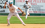 WATERBURY,  CT-072719JS23-- D-Bat's Alejandro Mendoza (2) throws to first base for the out after fielding a ground ball  during their Mickey Mantle World Series game against Cyclones Ponce (Puerto Rico) Saturday at Municipal Stadium in Waterbury.  <br /> Jim Shannon Republican-American