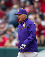 NWA Democrat-Gazette/BEN GOFF @NWABENGOFF<br /> Paul Mainieri, LSU head coach, visits the mound in the 6th inning Saturday, May 11, 2019, at Baum-Walker Stadium in Fayetteville.