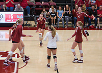 Stanford, CA - November 17, 2019: Jenna Gray, Kathryn Plummer, Morgan Hentz, Kate Formico, Meghan McClure at Maples Pavilion. #4 Stanford Cardinal defeated UCLA in straight sets in a match honoring neurodiversity.