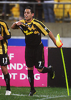 Leo Bertos celebrates scoring the winning goal during the A-League football match between Wellington Phoenix and Perth Glory at Westpac Stadium, Wellington, New Zealand on Sunday, 16 August 2009. Photo: Dave Lintott / lintottphoto.co.nz