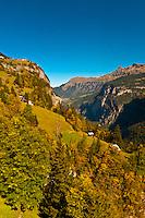 View from cablecar near Gimmelwald, between Murren and Stechelberg, Canton Bern, Switzerland
