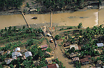 FLOODS & DEFORESTATION, Philippines. Rivers flooded and bridges  broken. Thousands of people died during flash floods in Leyte, the Philippines. Heavy rains brought floodwaters into river deltas where the poorest communities live, with  access to water; shanty towns, squatter camps were rapidly washed away.  The rapidity of flooding was blamed as much on logging and deforestation as the rain storms themselves. The Philippines, as the in rest of South East Asia, is rife with corruption amongst state, government and military officials who make a profit from illegal logging concessions.