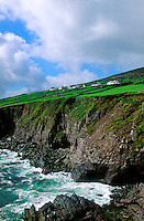 Farm houses overlooking cliffs to the sea, County Kerry, Ireland