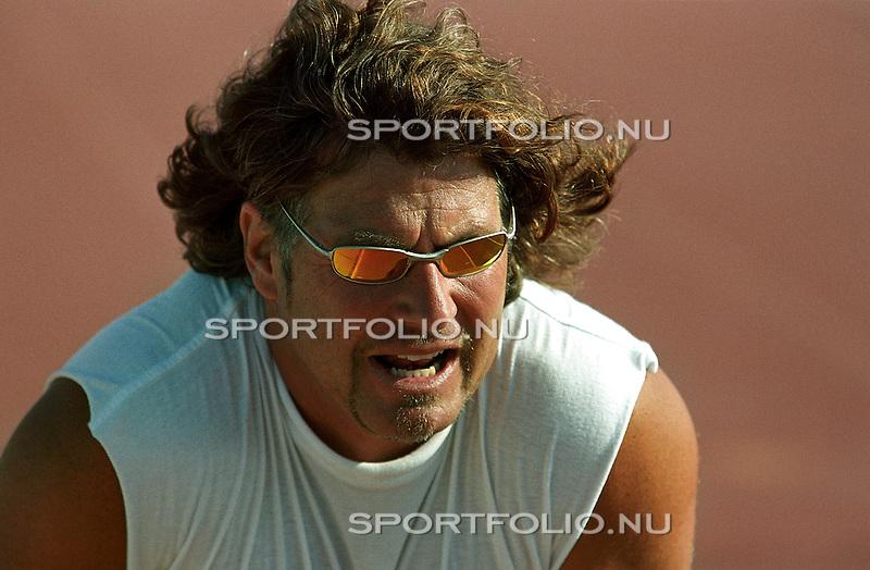 Spanje, Lanzarote, 14 september 2001.Trainingskamp Team Spaar Select.Peter Mueller, trainer-coach.