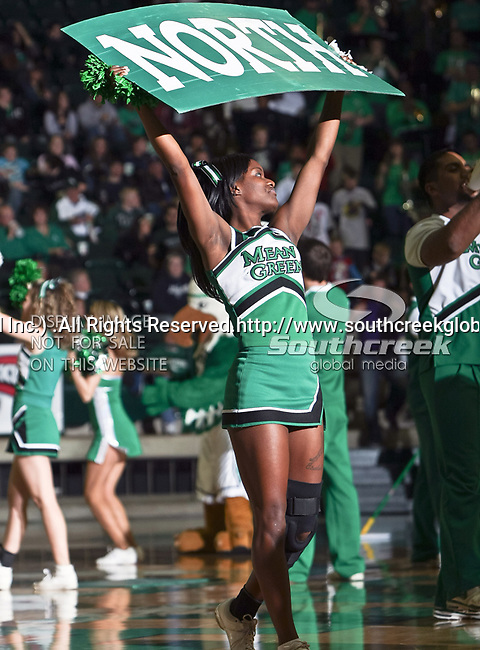 North Texas Mean Green cheerleaders get the crowd worked up during a time out in the NCAA  basketball game between the Florida International University Panthers and the University of North Texas Mean Green at the North Texas Coliseum,the Super Pit, in Denton, Texas. UNT defeated FIU 87 to 77