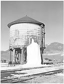 D&amp;RGW Sargent water tank with winter ice load from leaks.<br /> D&amp;RGW  Sargent, CO  Taken by Richardson, Robert W. - 3/31/1955